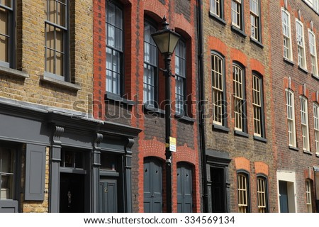Facades of east London - stock photo