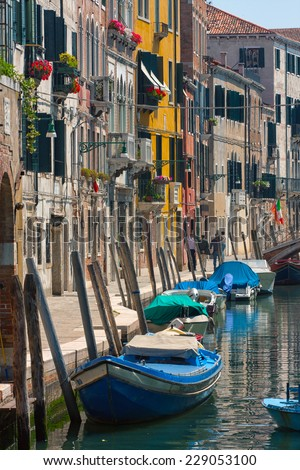 facades of houses and canals in Venice  - stock photo