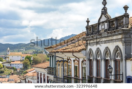 Facades of houses that compose the architectural ensemble of the city of Ouro Preto - stock photo