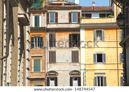 Facades Trastevere district in Rome Italy