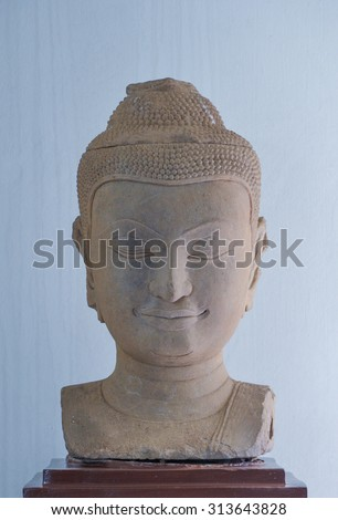 Face Ancient stone Buddha in Thailand - stock photo