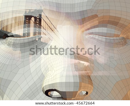 Face and city - stock photo