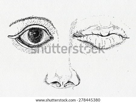 Face, art metaphor, pen and ink drawing on artistic paper texture - stock photo