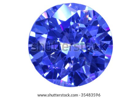 Face blue diamond isolated white. - stock photo