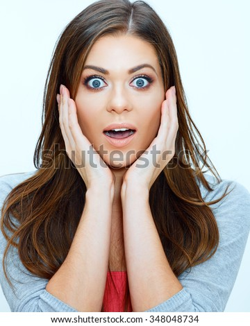 Face close up portrait of surprised woman. Hand touching face. Studio isolated. - stock photo