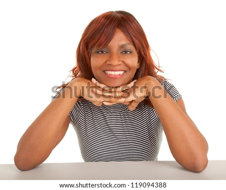 Face Closeup of a Beautiful African American Lady - stock photo