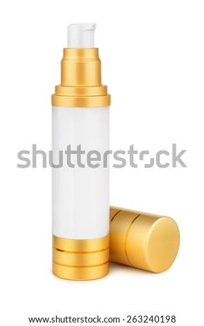 Face cream bottle isolated on white - stock photo