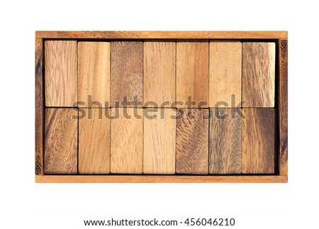 Face down wooden dominoes in a box isolated on white background - stock photo