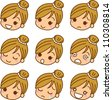 Face expression female icon - stock vector