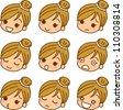 Face expression female icon - stock photo