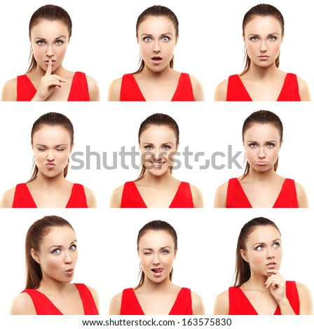 Face expressions of  young woman isolated on white . - stock photo