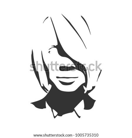 face front view elegant silhouette female stock illustration