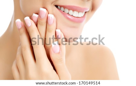Face, hands and healthy white teeth of a woman, white background, copyspace.  - stock photo