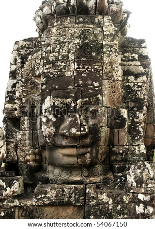 Face in Bayon temple, Angkor, Cambodia - stock photo