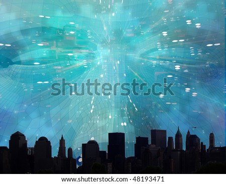 Face looms over city - stock photo