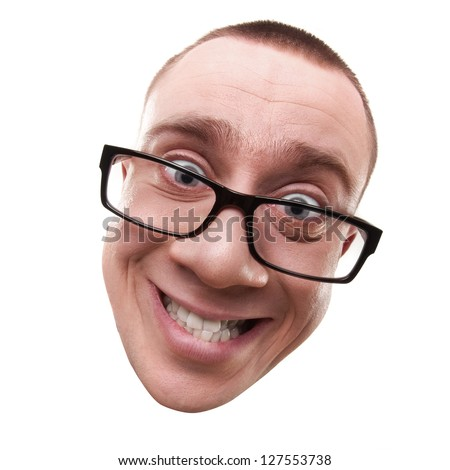 Face mad manager smiling isolated on white background High resolution - stock photo