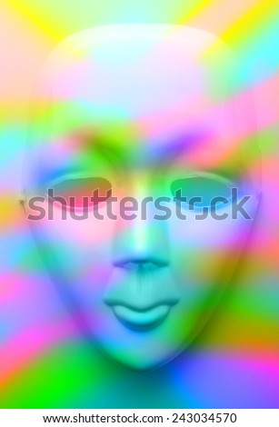 Face mask in colourfull lights - stock photo