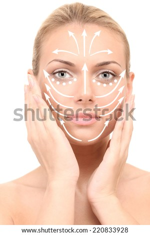 Face massage.Beautiful woman's face, isolated on white (with arrows) - stock photo