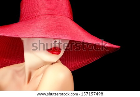face of a beautiful woman in hat with red lips - stock photo