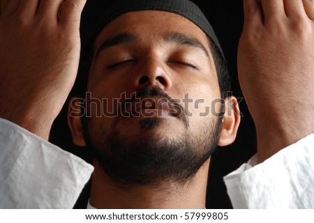 Face of a Praying Muslim - Close up view