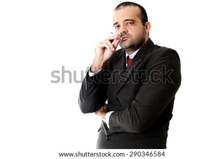 Face of a Serious Business man smoking