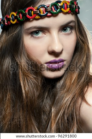 Face of a young beautiful girl with natural make-up - stock photo