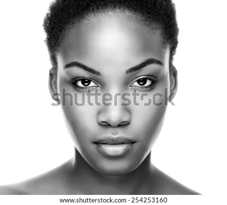 Face of an young black beauty in black and white - stock photo