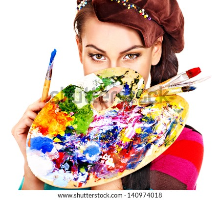 Face of artist woman with paint palette. Isolated. - stock photo