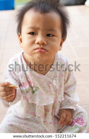 face of asian baby  - stock photo