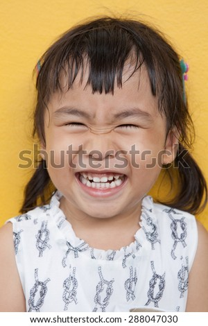 face of asian 4s year old laughing show good healthy tooth ,happy emotion - stock photo