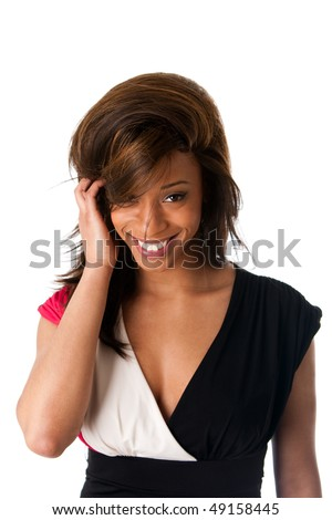 Face of beautiful African American business woman with a smile and shy expression and hand in straight hair, isolated. - stock photo