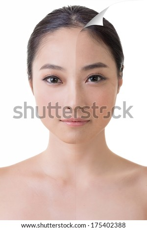 Face of beautiful Asian woman before and after retouch, concept of makeup or plastic surgery. - stock photo