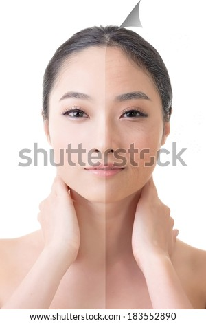Face of beautiful Asian woman before and after retouch, concept of makeup younger or plastic surgery. - stock photo