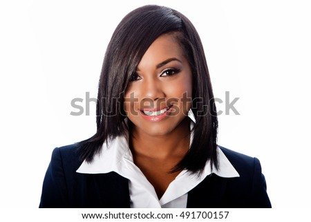 Face of beautiful happy smiling business woman, on white.