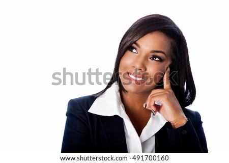 Face of beautiful happy smiling thinking ideas business woman, on white.