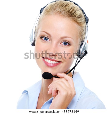 Face of beautiful smiling happy woman in headset - stock photo