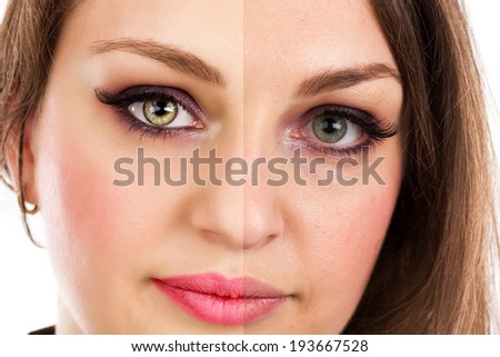Face of beautiful woman before and after retouch isolated over white background - stock photo