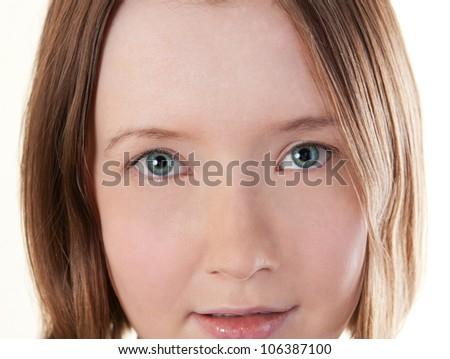 Face of beautiful woman close-up - stock photo