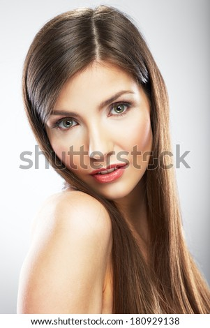 Face of beautiful woman close up portrait. Isolated.