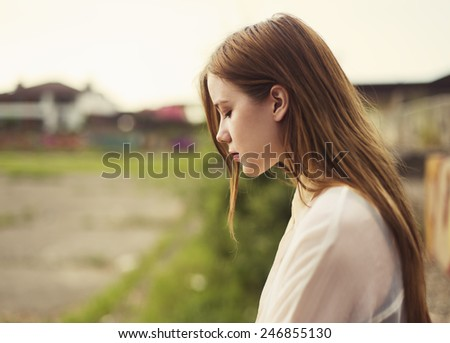 face of beautiful young model - stock photo