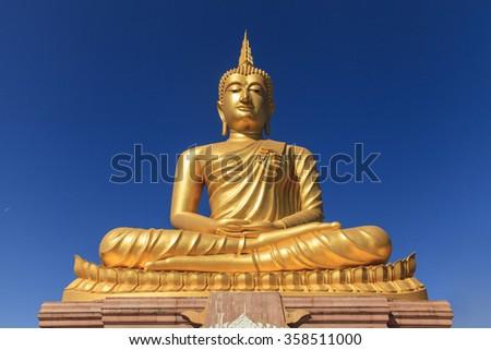 Face of Big Buddha - stock photo