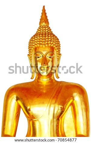 face of buddha isolated - stock photo