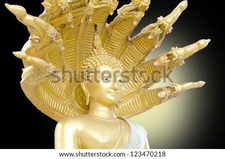 Face of Buddha statue - stock photo