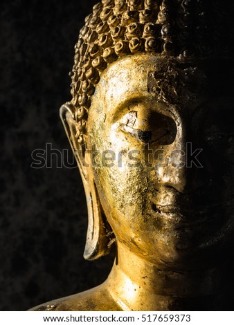 Face of Buddha statue face close up at Wat Phra That Doi Suthep is a Theravada wat in Chiang Mai Province, Thailand. The temple is often referred to as Doi Suthep