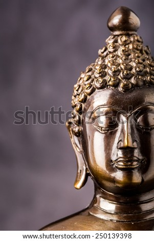 face of buddha statue isolated ,statue in Buddhist Thailand  temple or wat,  are public  domain  or treasure of Buddhism ,no restrict in copy or use . This photo  taken in these  conditions - stock photo
