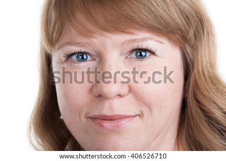 Face of Caucasian woman with curly hair and blue eyes, close up, isolated on white background - stock photo