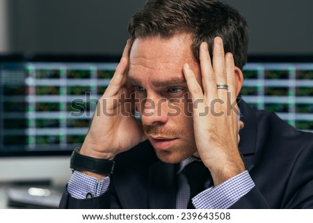 Face of desperate business broker, bad investment concept - stock photo