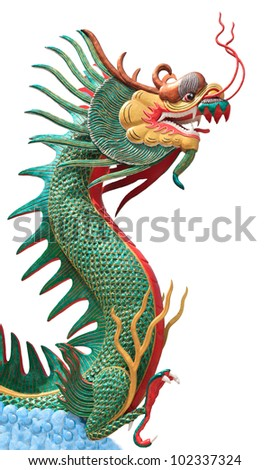 face of dragon on blue clouds isolated white - stock photo