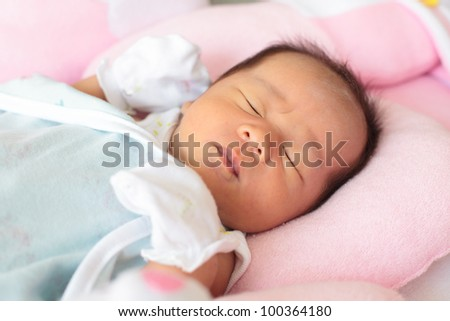 face of infant - stock photo