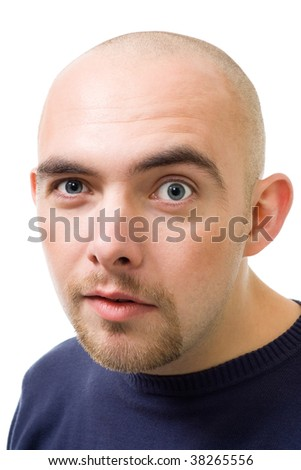 face of mistrustful bold man isolated on white - stock photo